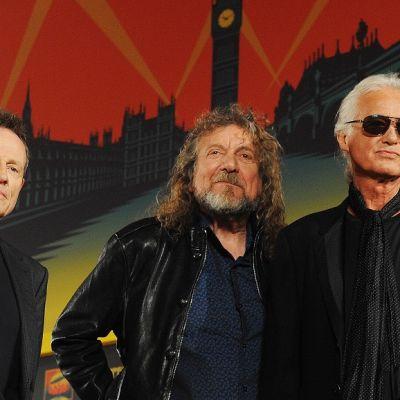 John Paul Jones, Robert Plant ja Jimmy Page. Taustalla piirroskuva Lontoosta.