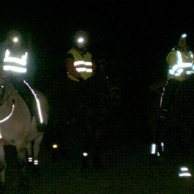 Kolme ratsastajaa ja hevosta heijastimiin pukeutuneena
