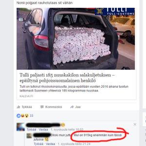 I grupperna på Facebook skämtas det friskt om tullmännens agerande vid gränsen. En försäljare jag följer med skryter med att han har 1100 kg snus just nu.