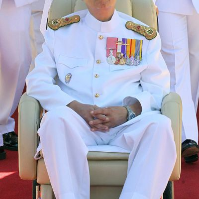 Thaimaan kuningas Bhumibol Adulyadej 64. kruunajaisvuosijuhlassa Bangkokissa 5. toukokuuta 2014