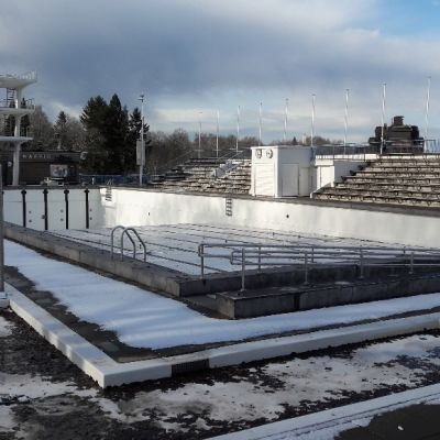 Samppalinnan maauimala talvella.