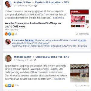 Anders Sultan och Ann-Katrine Backman delar länkar i Facebookgruppen Elektrokolloidalt silver, och Michael Zazzio kommenterar. Sultan och Zazzio styr företaget Ion Silver och Backman är återförsäljare i Finland.