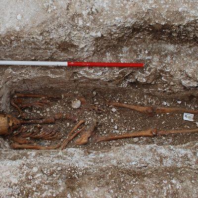 Luuranko hautakuopan pohjalla. Käden vieressä on kampasimpukka ja haudan laidoilla mittakeppejä.