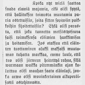 Ehdotus sukupuuttoon metsästetyn majavan palautuksesta. Hämeen Sanomat vuodelta 1883.