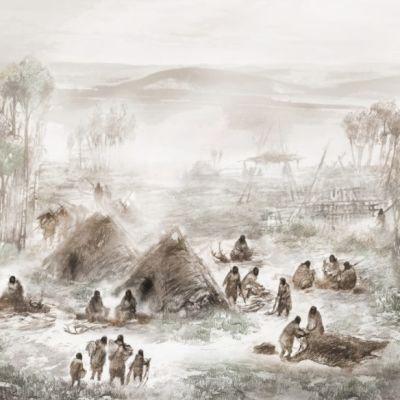 Piirroskuva leiristä, jossa on kotamaisia asuinrakennuksia.