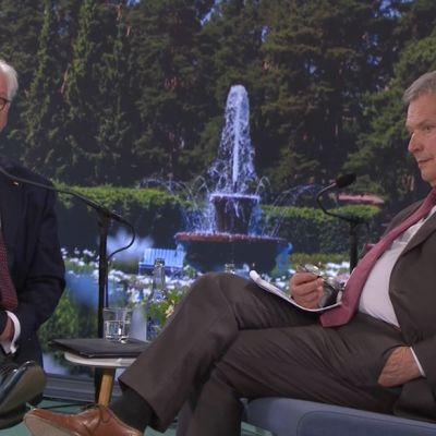 Tasavallan presidentti Sauli Niinistö avaa Kultaranta-keskustelut. Saksan liittopresidentti Frank-Walter Steinmeierin puhe ja presidenttien keskustelu