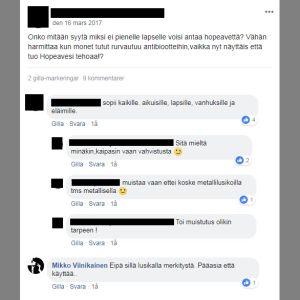Facebook-diskussion om kolloidalt silver till små barn.