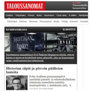 Kuvakaappaus Taloussanomien verkkosivulta.