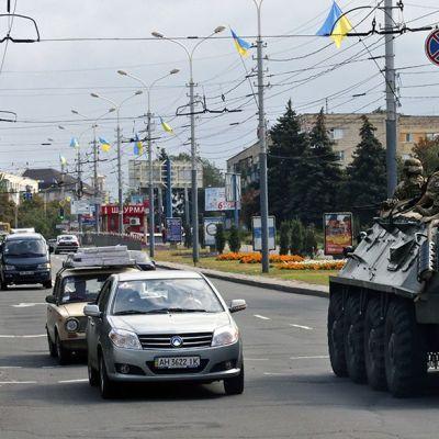 Asovan pataljoonan sotilaita Mariupolissa syyskuussa 2014.