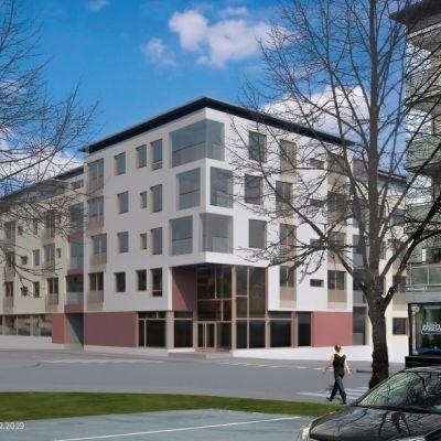 Havainnekuva Työnkulman korvaavasta uudisrakennuksesta Kuopion keskustassa.