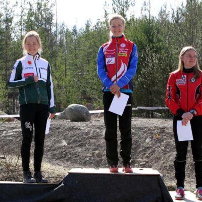 Medaljtrion i D21E; Saila Kinni, Sofia Haajanen och Yvonne Gunell