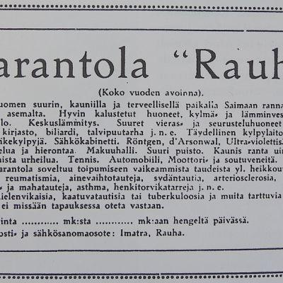 Rauhan Parantola eli loistonsa vuosia 1910-luvulla.