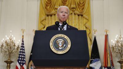 Joe Biden talar om Afghanistan i Vita huset den 8 juli 2021.