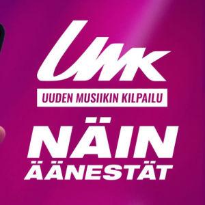 Ohjeistus UMK21-äänestykseen, violetilla taustalla puhelin jonka ruudulla on listattuna tämän vuoden UMK-kilpailijat.