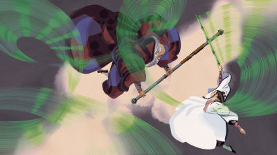 Jussi Kaakisen kuvitus kirjailija Jin Yongin Kotkasoturien taru kirjaan.