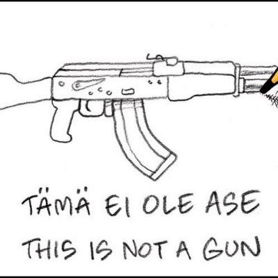Lyijykynä piirtää aseen - piirros
