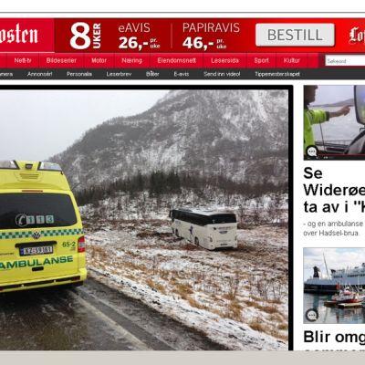 Tuuli puhalsi bussin tieltä Norjassa