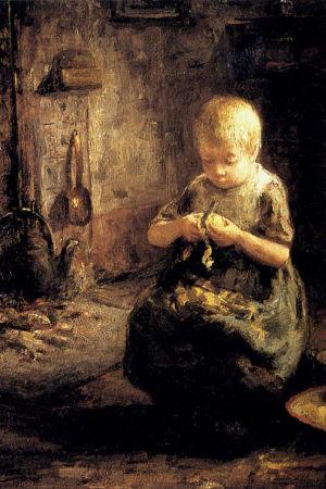Hollantilaisen taidemaalarin Evert Pietersin maalaus Lapsi kuorimassa perunaa