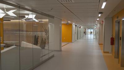 Färggranna sjukhuskorridorer i det nya Fyrsjukhuset i Åbo.