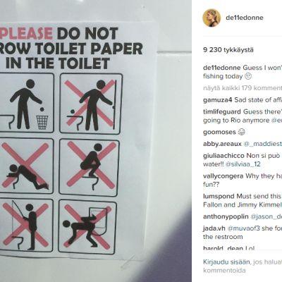 WC-pöntön käyttöön liittyviä kieltoja.