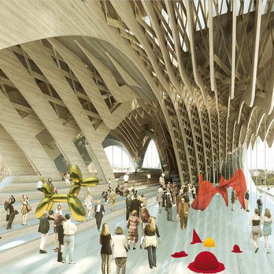 Guggenheim Helsinki -museon kilpailuehdotuksessa taideteoksia ja arkkitehtooninen puinen rakenne
