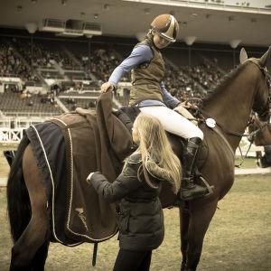 Ratsukko kentällä, hoitaja ottaa loimea pois hevosen päältä