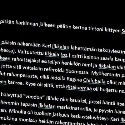 Kuvassa ote Markku Wiikin todistajanlausunnosta