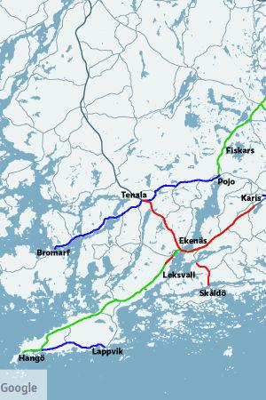 En karta över ställen där de kan behövas cykelvägar, de som har fått många förslag är röda, de som är blåa har fått 2 röster och de gröna en röst.