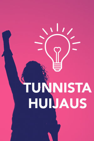 Digitreenien pääkuvassa ihminen käsi nyrkissä voimaantuneena. Kuvassa tekstit Digitreenit, Tunnista huijaus ja yle.fi/oppiminen.