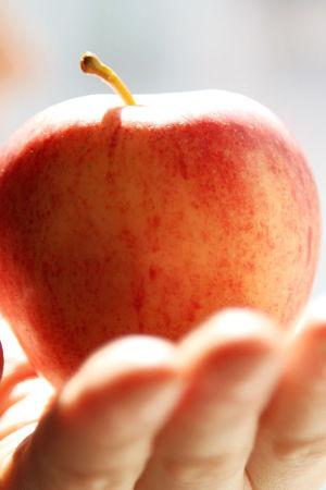 Omena kädessä.