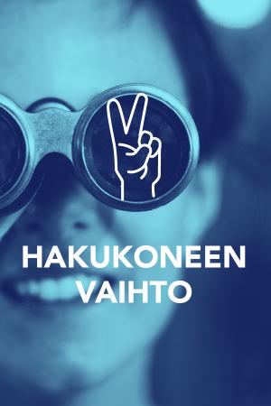 Digitreeni-artikkelin pääkuva. Teksti: Hakukoneen vaihto, Digitreenit, yle.fi/oppiminen. Taustakuvassa suurennuslasi kirjan päällä.