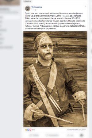 Kuvakaappaus Verjnuarmu-yhtyeen Facebook-postauksesta.