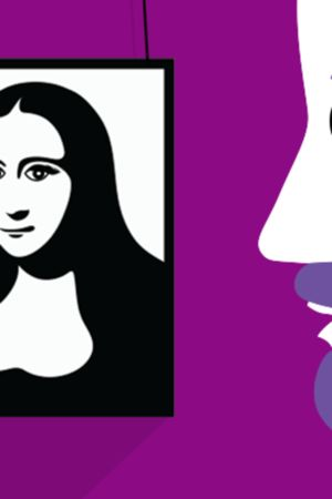 Madonna-hahmo taulussa iskee silmää taidenäyttelyn katsojalle