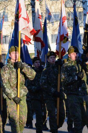 Puollustusvoimien lippujoukkue kantavat paraatissa näyttäviä lippuja.