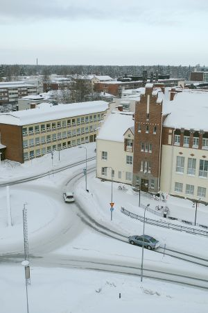 Joensuun konservatorion rakennukset ilmakuvassa.