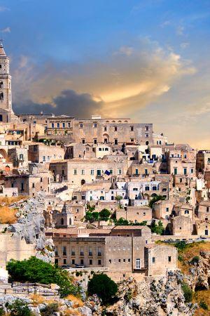 Materan kaupungin vanhakaupunki, Italiassa.