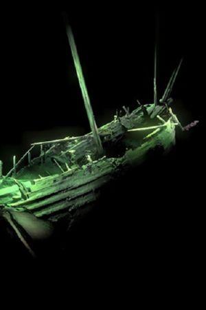 Kolmiulotteinen kuva laivanhylyn puolikkaasta.