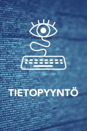 Digitreenit pääkuva, jossa koodia ja teksti Tietopyyntö