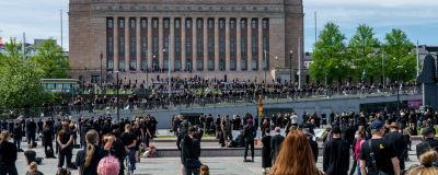 Kulturbranschens demonstration mellan Riksdagshuset och Ode.