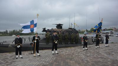 """Finländska marinens U-700 """"JEHU"""" (Watercat M18 AMC), överlåtelseceremoni i Ekenäs"""
