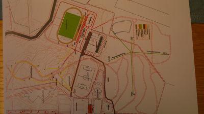 Planeringsskiss över idrottsanläggningarna i Larsmo, det gröna partiet är den nya konstgräsplanen