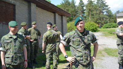 Tony Enlund och andra reservister som deltar i Baltops 15.