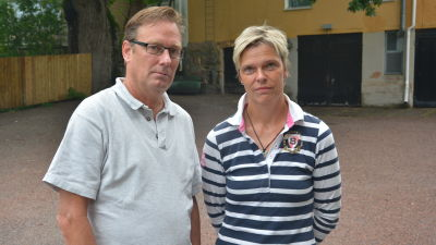 Stefan Haglund från Ekenäs IF och Mia Källberg från If Raseborg.
