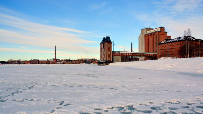 Fruset hav nedanför Academill i Vasa.