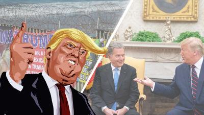 Grafik/bildmontage. I bakgrunden syns två bilder, en bild från muren mellan Mexiko och USA, den andra föreställer Sauli Niinistö och Donald Trump. I förgrunden karikatyr av Donald Trump.