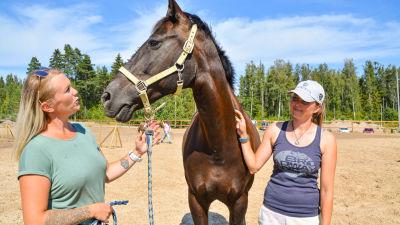 Två kvinnor bredvid en häst.
