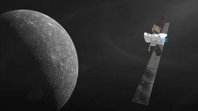 Rymdsonden BepiColombo närmar sig planeten Merkurius. Teckning.