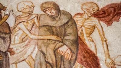 Dödsdansen som motiv för en kyrkomålning.