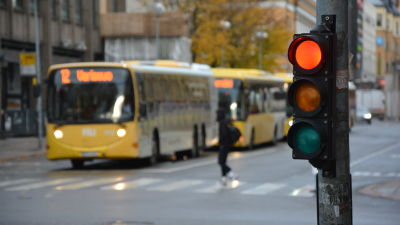 En buss står vid ett övergångsställe, ett rött trafikljus i förgrunden.