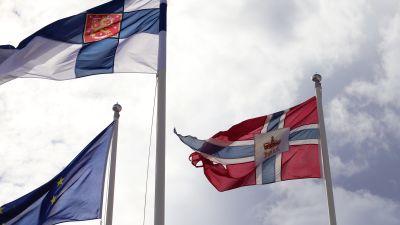 Finska flaggan, norska flaggan och EU:s flagga vaijar i vinden.